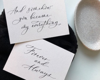 Minimalist calligraphy, bridesmaid proposal cards, special occasion cards, with classic calligraphy.  Personalised message card.