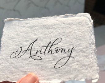 Deckled edge, Cotton rag paper place cards with hand lettered modern calligraphy, Indie textured handmade paper.