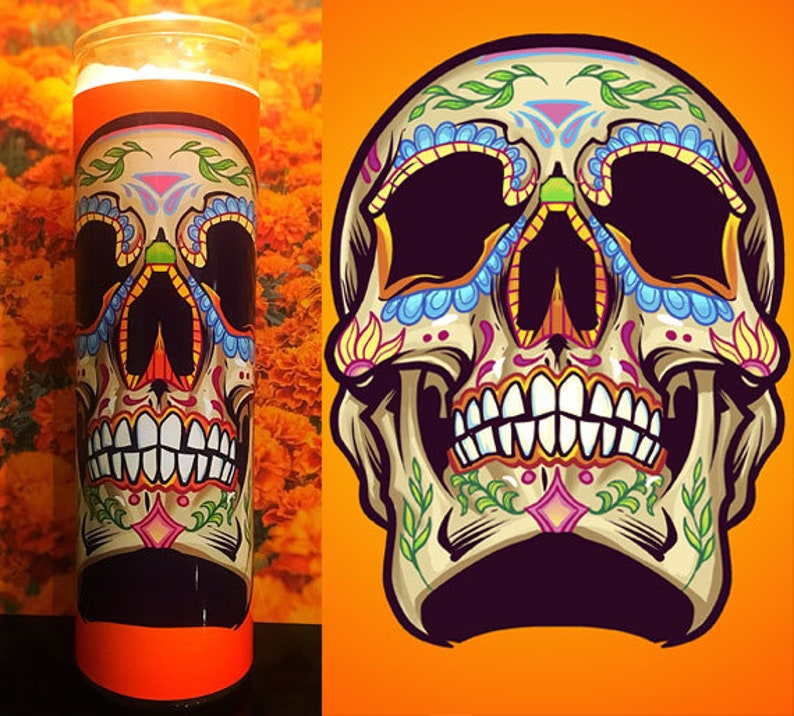 Sugar Skull, Dia De Los Muertos, Santa Muerte, Day of the Dead, Scented  Candle, Prayer Candle, Gifts for Her, Best Scented Candles,