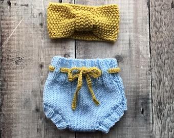 Baby headband and bloomers gift set - knitted baby headband - retro bloomers - kids hair accessories - newborn present - baby shower gift