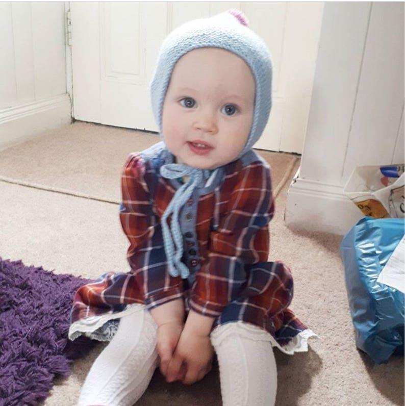 handmade knitted hat Baby pixie hat newborn bonnet kids pom pom baby shower gift Spring bonnet blues and greens