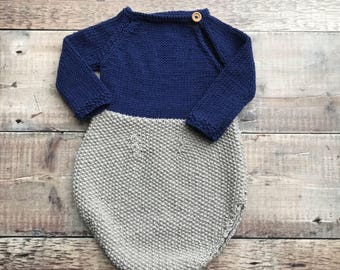 Long sleeved Romper - Handmade newborn outfit - Knitted baby romper - coming home outfit - Baby shower gift - baby girl clothes