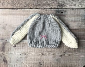 Baby Bunny Hat – handmade baby beanie - rabbit face hat - knitted bobble hat - spring hat -baby shower gift - easter present