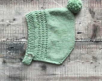 Knitted pixie hat - Spring bonnet - handmade knitted hat - kids pom-pom bonnet - newborn bonnet - baby shower gift
