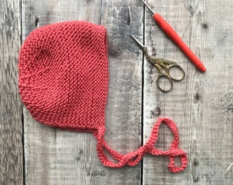 Classic baby bonnet - Winter bonnet - handmade knitted hat - vintage style bonnet - newborn photo prop - baby shower gift