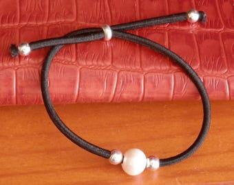 Adjustable bracelet pearl white Pearl bracelet dainty pearl bracelet silver bracelet stacking bracelet black bracelet rubber bracel