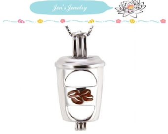 S925 Sterling Red Lips Coffee Cup Solid Silver Cages pendant for pearl locket