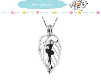 S925 Sterling  Ballet Dancer Locket Solid Silver Cages pendant for pearl locket Best gift ideas