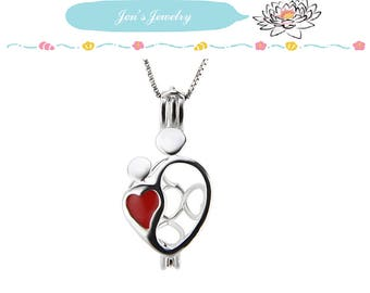 S925 Sterling  HEART LOVER Locket Solid Silver Cages pendant for pearl locket Best gift ideas