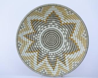 Umwari African Wall Basket, Rwanda baskets, African Woven basket,  Tan, Gray and White