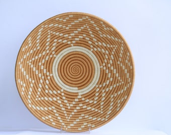 Seko African Wall Basket, Rwanda baskets, African Woven basket. White and Brown
