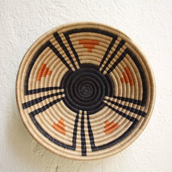 African Woven Baskets: African Wall Basket African Woven Basket Rwanda Baskets