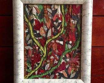 Original Fabric Art Nature Themed  Collage Art Wall Hanging Textile Art Mixed media Art