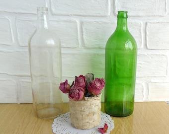 Vintage Bottle Green Glass, Soviet Era USSR 1970, Antique Bottle 1970s, Vine Bottle Made in USSR, kitchen decor, vintage70s, Old Vine Bottle