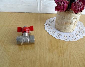 Soviet vintage water brass valve, Closing-opening brass valve from USSR, Soviet design from 1980s, Retro brass valve