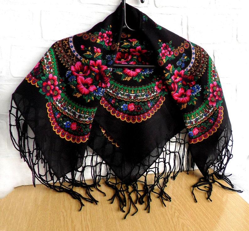 f4c4abab0a SALE Wool floral black shawl Chale russe Ukrainian women | Etsy