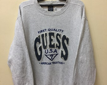 d6dce804fcb Vintage 90s Guess Usa Embroidery Big Logo Spell Out Sweatshirt Unisex size  Fendi Chanel Gucci Champion Versace