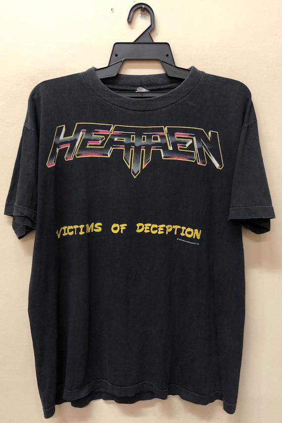 Vintage 90s Heathen Metal European Tour 1991 t shi