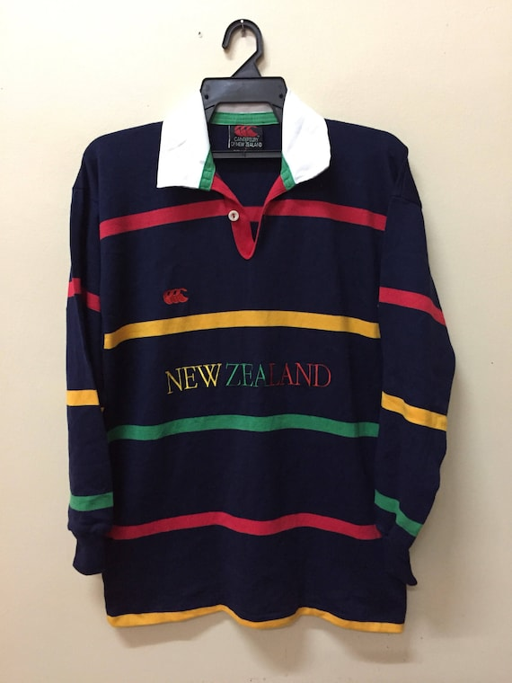 Vintage CHAMPION Embroidered Small Logo Polo Shirt Rugby Long Sleeve Stripe Colour  XL Size
