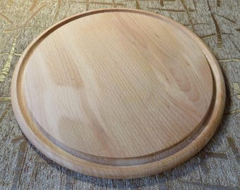 Wooden round pizza board cuttin holder beech wood 13.8 inches #d115