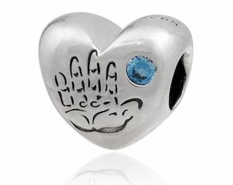 4dbca28d0 Baby Boy Heart Charm, Its a Boy Charm, 100% 925 Sterling Silver with Blue  CZ Fits to all Pandora Charm Bracelets, Diy Jewelry