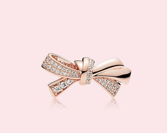 f6ae7a463 Brilliant Bow Charm, 100% 925 Sterling Silver Charm With Rose™, Rose Gold  Plated & CZ, Fits to all Pandora Bracelets,