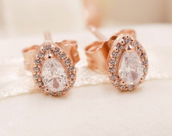 5998d3813 Radiant Teardrops Earrings, Stud Earrings, Rose™, Rose Gold Plated With  Clear Cubic Zirconia Earrings, Fits to all Pandora Fashion Jewelry,