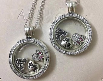 ee69da7ba Sparkling Locket Medium With Disney Petites Charms, 100% 925 Sterling Silver  Sapphire Crystal Glass & Clear CZ fits Pandora Jewelry Diy