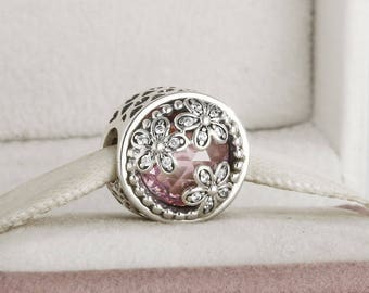 7797e5f9e Dazzling Daisy Meadow Charm, Genuine Sterling Silver with Pink & Clear  Cubic Zirconia Charm Fits to all Charm Bracelets