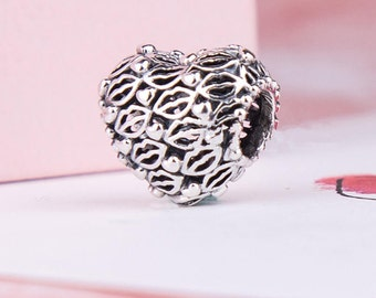 ea4a52769 Valentine's Day Love & Kisses Charm, 100% 925 Sterling Silver Fits to all  Pandora Charm Bracelets, Gift to my love, Jewelry Diy