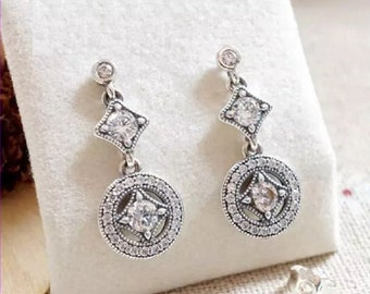 2b195fa4b Vintage Allure Drop Earrings, 100% 925 Sterling Silver & Clear Cubic  Zirconia Earrings, Fits to all Pandora Jewelry Diy,