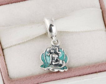 94ae54452 Disney Ariel in a Shell, Mermaid Pendant Charm, 925 Sterling Silver with  Green Glittery Enamel, Charm Fits to all Charm Bracelets