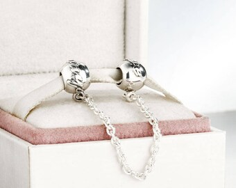 90e60b317 ... sweden love always safety chain stopper charms 925 sterling silver fits  to all pandora bracelets e9d05