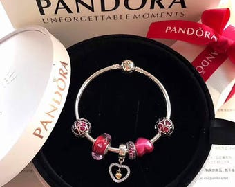 f747109f9 Valentine's Day Bangle Bracelet With Charms 100% Sterling Silver, Enamel &  CZ, 14K Gold Plated, Murano Glass (Not Authentic Pandora but 1:1)