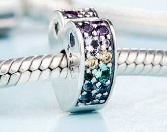 925 Sterling  Arc Of Love Multi-Colored Clip //European Charm Bead bracelet