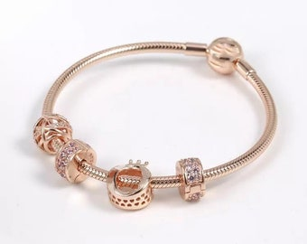 1d14c5158 Moments Smooth Rose Clasp Bracelet With Charms, Rose Gold TM & Cubic  Zirconia, Fits to all Pandora Charms Bracelets (Not Authentic Pandora)