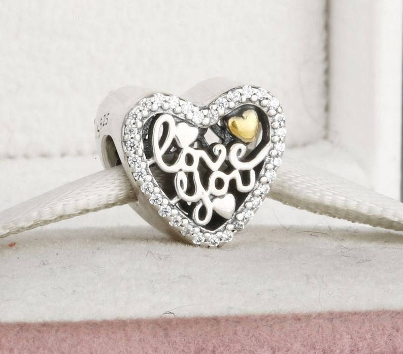 cce8cc09b2713 Love You Script Charm, 925 Sterling Silver with 14K Gold Plated & CZ Charm  Fits to all Pandora Bracelets