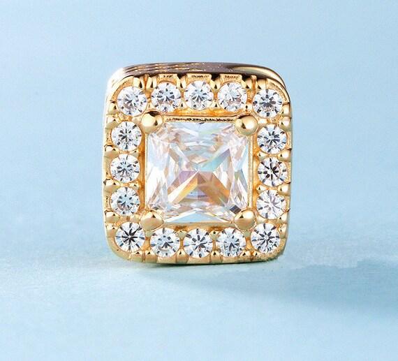 Radiance charme géométrique, 14 K or massif massif massif & claire CZ charme s'adapte à tous les Bracelets à breloques Pandora, bijoux bricolage | Insolite  e96b93