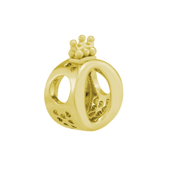925 Sterling Silver Gold Plated Signature LOGO Crown O European Charm