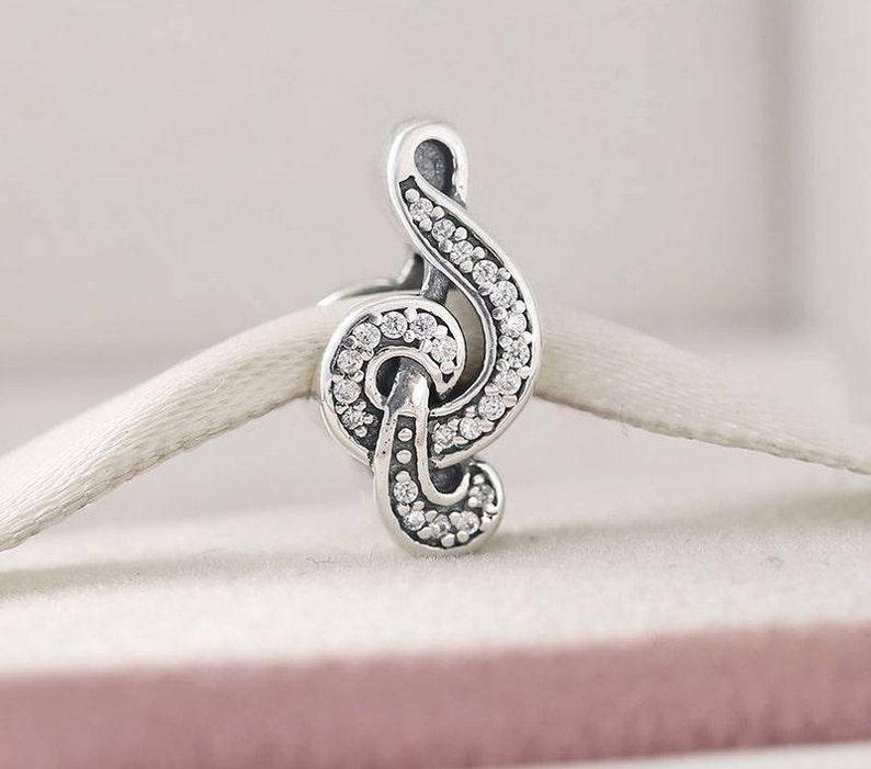78447ec27b3a8 Sweet Music Treble Clef Charm, 925 Sterling Silver & Cubic Zirconia Charm  Fits to all Pandora Bracelets