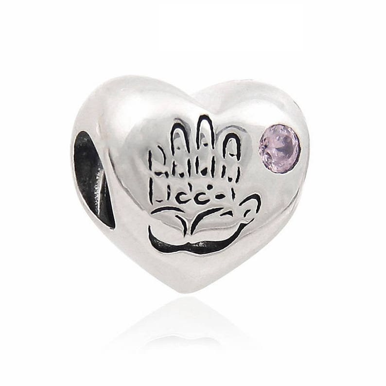 7839bf9082a Baby Girl Heart Charm, Its a Girl Charm, 100% Sterling Silver with Pink CZ  Fits to all Pandora Charm Bracelets, Diy Jewelry