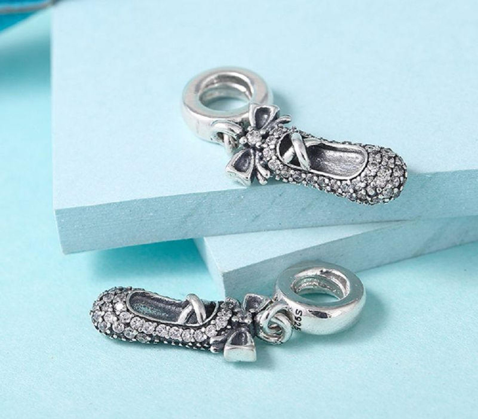 ballet slipper pendant charm, 925 sterling silver & cubic zirconia charm fits to all pandora bracelets