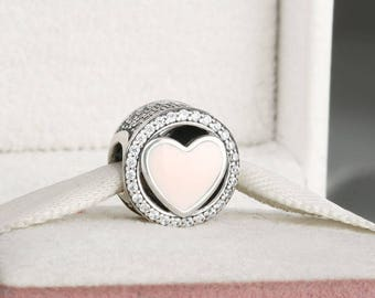 Wonderful Love Charm, Genuine 925 Sterling Silver with Soft Pink Enamel & Clear CZ Charm  ,Charms for Pandora Bracelet, Fully Stampeds