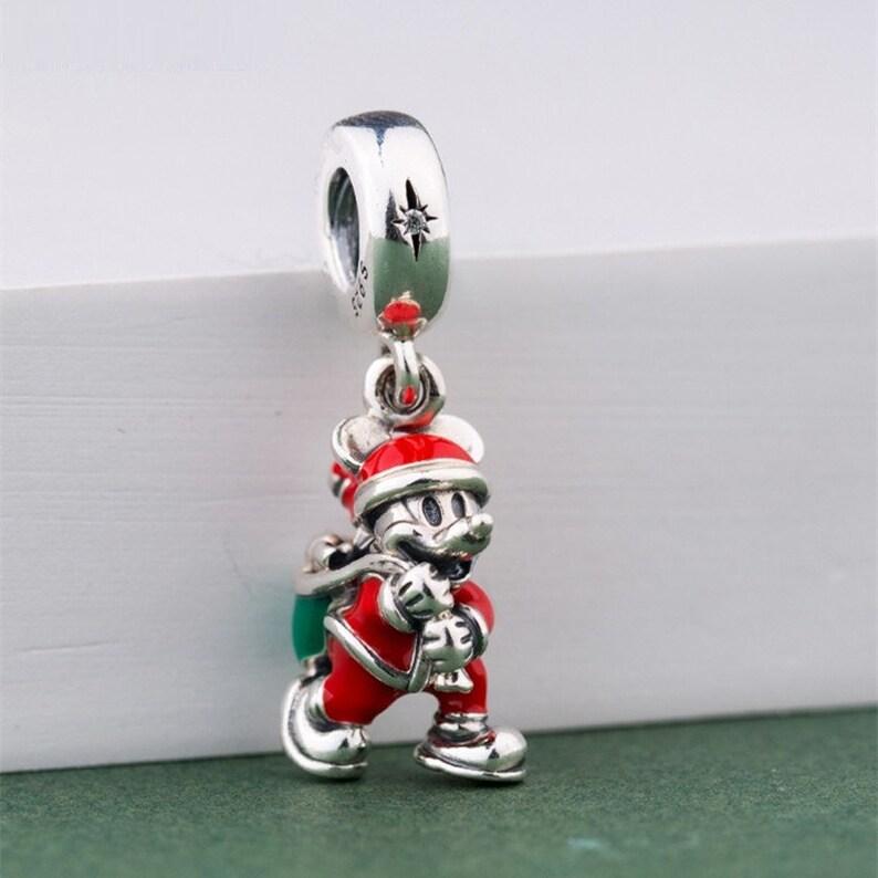 f36a2a91b Disney Santa Mickey & Gift Bag Dangle Charm 100% Sterling | Etsy