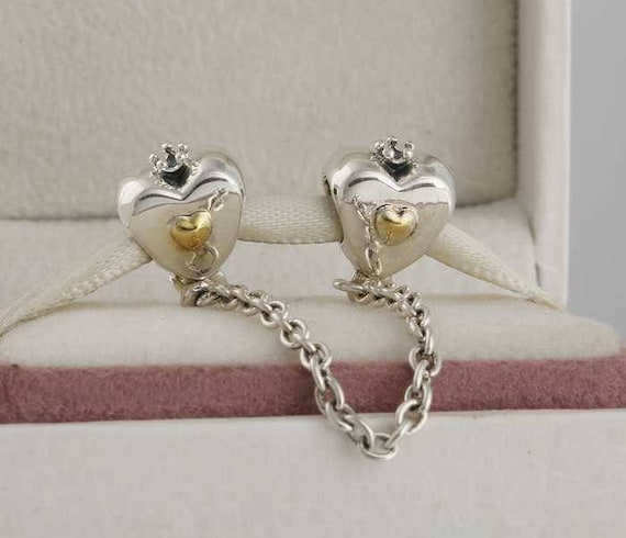 5e3fb312e ... wholesale two tone heart crown safety chain stopper charms 925 etsy  c5015 9db90