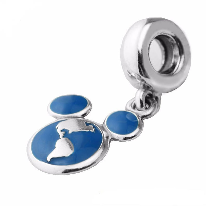 Disney Parks Mickey Vacation Club World Globe Pendant Charm 925 Sterling Silver /& Blue Enamel Charm Fits to all Charm Bracelets