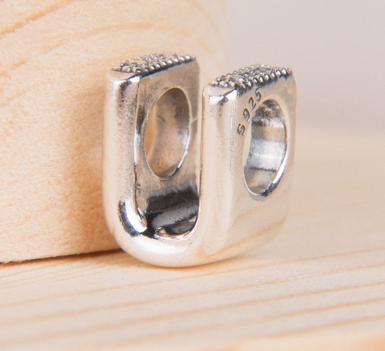 Sterling Silver Scrolled Letter C Dangle Charm Bead For Bead Charm Bracelet