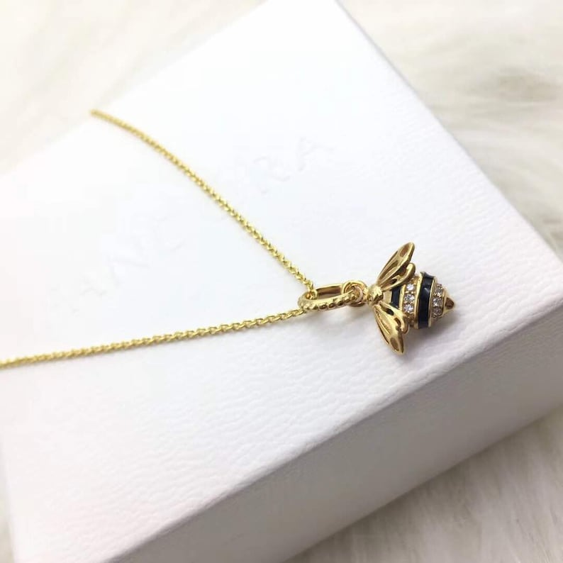 27cea83749841 Queen Bee Shine Necklace, 100% 925 Sterling Silver With 14K Gold Plated, CZ  and Black Enamel, Fits to Pandora Jewelry