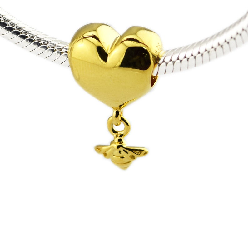 b9077a07c Heart & Bee Charm 100% 925 Sterling Silver With Shine™ 18K   Etsy