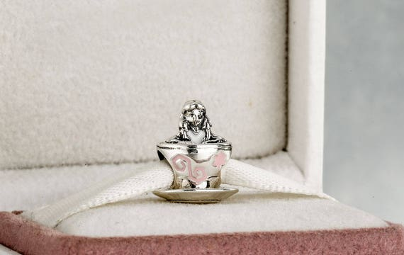 Disney Alice in Wonderland Teacup Charm 925 Sterling Silver & | Etsy